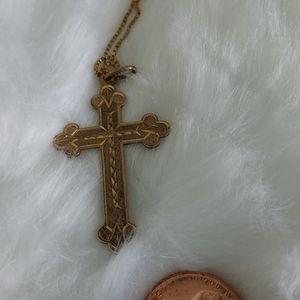 ☘️ANTIQUE☘️Hallmarked RoseGoldTone Trefoil Cross
